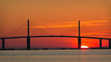 Sunrise over Skyway Bridge w Pelican