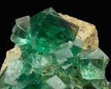 Transparent green fluorite crystals to 22 mm on edge in 10 cm group. Middlehope Shields Mine, Westgate, Weardale, County Durham.