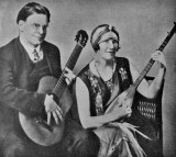 Jan and Cora Gordon with their instruments, from the 1931 catalogue of their exhibition at the Twenty One Gallery, London.