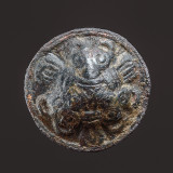 Domed brooch with three Borre-style bear heads, 25 mm, copper alloy with remnants of gilding, 10th century.