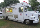 THE COOKING TEAM, FROM ANOTHER CHURCH,  WORKED OUT OF THIS LOANED RED CROSS FOOD TRAILER