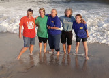 THE WATER WAS ROUGH  -  WE HAD TO GET THE PHOTO QUICKLY, BEFORE THEY ALL SANK UP TO THEIR KNEES IN THE SAND!