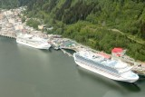 Cruise boats docked in Juneau