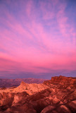 Rosy dawn light at Zabriskie Point, Death Valley National Park, CA
