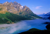 Fog over Peyto Lake, Banff National Park, Alberta, Canada