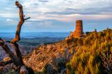 Sunset light on the Watch Tower, Grand Canyon Natinal Park, AZ