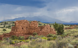 Lomaki Pueblo with San Francisco Peaks in the distance, Wapatki National Monument, AZ