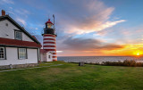 West Quoddy Head Lighthouse at sunrise, Lubec, ME