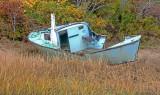 Boat in grasses, Campobello Island, NB