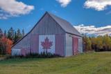 Canadian flag barn near Little River, NB