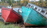 Boats aground along the Bay of Fundy, Campobello Island, NB