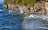Surf rainbow, Cave Point State Park, Door County, WI
