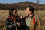 Rencontre très sympa avec le grand chef Mohawk de Kanesatake  Serge Otsi Simon devant la colline du Calvaire d'Oka face au parc.