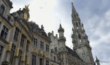 GRAND PLACE ,    DETAIL 0F TOWER OF CITY HALL , BRUSSELS BELGIUM