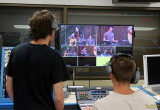 Students in the video control room make edits in real time