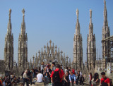 The Milan Duomo, with a Marathon, viewed from the roof