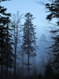 a blue veil of mist