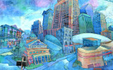Colorful Painting of Hotels in River Front Area