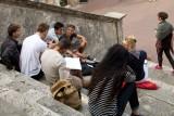 San Gimignano.Group of Art Students