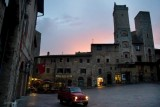 San Gimignano. the red .Fiat 500