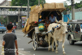 Ox cart with rattan/bamboo-made products (1)