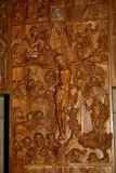 Carved detail of the large wooden crucifix