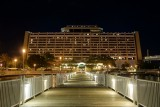 Contemporary Resort night from boat dock