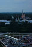 Monorail and Magic Kingdom at dusk