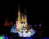 Cinderella's castle at night from BLT