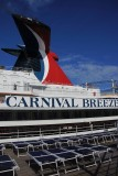 Carnival Breeze next to our deck chairs