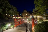 Japanese tea garden at night