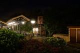 Fantasyland train station at night