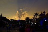 Crazy orange sunset over Fantasyland