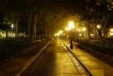 Foggy Port Orleans street at night