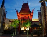 Chinese Theater and moon at dusk