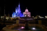 Fountain and castle, night