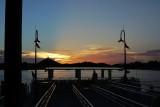 Disney Springs dock at sunset