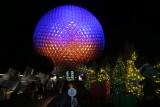 Spaceship Earth, and Christmas decor, night