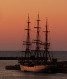 Norwegian Tall Ship with the sun setting on Collingwood Harbour 2013