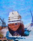 Mountainview Hotel - Shipyards Mural (was on east side of Mountainview Hotel). Modified slightly by yours truly.