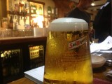 A pint of San Miguel in the Ley Arms near Exeter, Devon UK