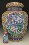 107 Massive gold gilt Chinese cloisonné covered jar, 巨型鎏金景泰蓝盖罐
