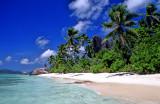 La Digue Beach, With Praslin In Background