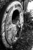 Abandoned Old Traditional Wheel B&W