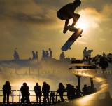 Venice Skatepark Sunset Silhouettes