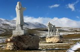 The monument to the tragedy of Fonte Vetica Campo Imperatore
