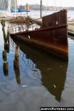 Partially sunken ship in Baltimore's Inner Harbor