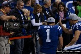CBS Sports cameraman Chuck Denton with Indianapolis Colts kicker Adam Vinatieri
