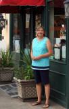 Heather in front of Jestine's Kitchen