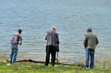 The fisherman, the detector man, and the observer man at Lake William Hovell.